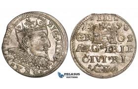 ZL86, Latvia, Riga, Sigismund III of Poland, 3 Groschen (Trojak) 1598, Riga, Silver (2.44g) Toned XF+