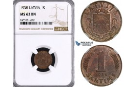 ZL87, Latvia, 1 Santims 1938, NGC MS62BN