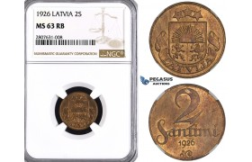 ZL88, Latvia, 2 Santimi 1926, NGC MS63RB