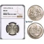 ZL89, Latvia, 2 Lati 1925, Silver, NGC MS64