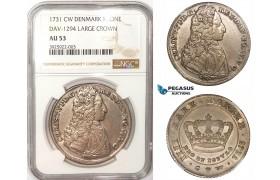 ZM179, Denmark, Christian VI, Krone 1731 CW, Copenhagen, Silver, NGC AU53, (Very lustrous, better in hand!)