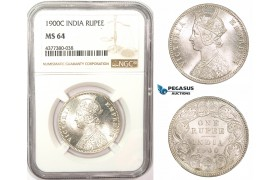ZM181, India (British) Victoria, Rupee 1900-C, Calcutta, Silver, NGC MS64, Blast white!