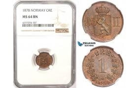 ZM184, Norway, Oscar II, 1 Øre 1878, Kongsberg, NGC MS64BN, Rare!