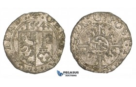 ZM190, Switzerland, Geneva, 2 Quarts (1/2 Sol or 6 Deniers) 1554 IHS, Billon (0.85g) EF, Rare!