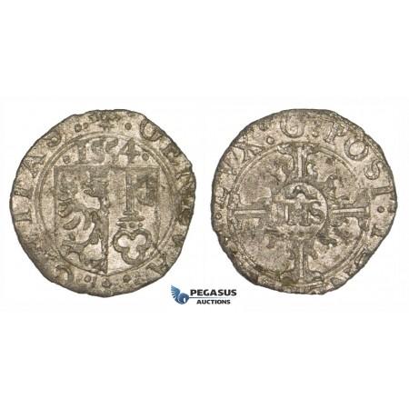 ZM190, Switzerland, Geneva, 2 Quarts (1/2 Sol or 6 Deniers) 1554 IHS, Billon (0.85g) EF, Rare!