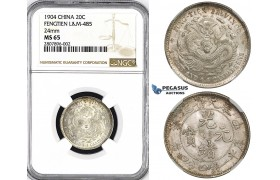 ZM31, China, Fengtien, 20 Cents 1904, Silver, L&M 485, NGC MS65, 5 rows of scales, Very Rare Grade!