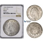 ZM42, France, Louis XV, Ecu 1763-L, Bayonne, Silver, NGC MS62, Pop 1/0, Finest!
