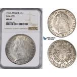 ZM42, France, Louis XV, Ecu 1763-L, Bayonne, Silver, NGC MS62, Pop 1/0, Finest!