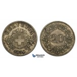 ZM527, Switzerland, 20 Rappen 1850-BB, Strasbourg, Silver, Toned XF-AU