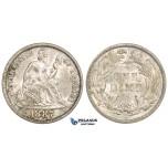 ZM528, United States, Liberty Seated Dime (10C) 1887, Philadelphia, Silver, Cleaned AU