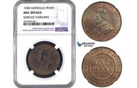 ZM724, Australia, George V, 1 Penny 1928, NGC UNC Det.