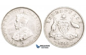 ZM725, Australia, George V, Threepence (3P) 1912, London, Silver, Cleaned aVF
