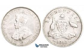 ZM725, Australia, George V, Threepence (3P) 1912, London, Silver, Cleaned aVF
