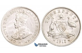 ZM726, Australia, George V, Threepence (3P) 1915, London, Silver, VF-XF (light scratch)