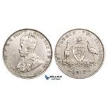 ZM728, Australia, George V, Florin - 2 Shillings 1913, London, Silver, Cleaned aVF