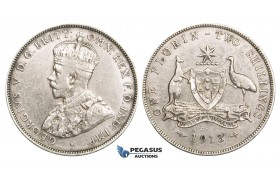ZM728, Australia, George V, Florin - 2 Shillings 1913, London, Silver, Cleaned aVF