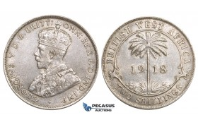 ZM729, British West Africa, George V, 2 Shillings 1918, London, Silver, Lustrous AU-UNC