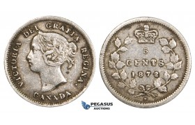 ZM732, Canada, Victoria, 5 Cents 1872-H, Heaton, Silver, gVF (lightly cleaned)