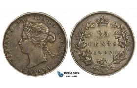 ZM734, Canada, Victoria, 25 Cents 1882-H, Heaton, Silver, Toned aXF