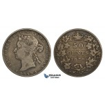 ZM736, Canada, Victoria, 50 Cents 1870 LCW, Silver, Toned F-VF