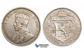 ZM737, Cyprus, George V, 18 Piastres 1921, Silver, aVF
