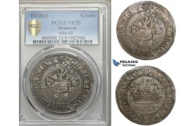ZM739, Denmark, Christian IV, Krone /4 Mark 1618, Copenhagen, Silver, S. 84.8, PCGS VF35, Rare!