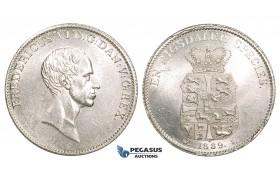 ZM740, Denmark, Frederik VI, Speciedaler 1839 WS, Copenhagen, Silver, Blast white UNC (Few hairlines)