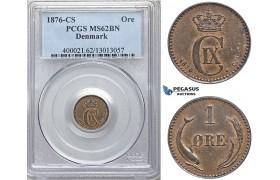ZM741, Denmark, Christian IX, 1 Øre 1876, Copenhagen, PCGS MS62BN, Rare!