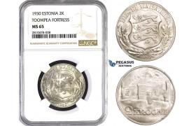 ZM744, Estonia, 2 Krooni 1930, Silver, NGC MS65