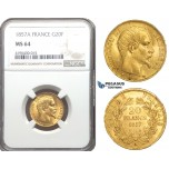 ZM748, France, Napoleon III, 20 Francs 1857-A, Paris, Gold, NGC MS64
