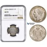 ZM749, Greece, George I, Drachma 1873-A, Paris, Silver, NGC AU55