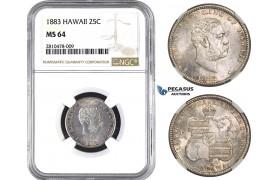 ZM750, Hawaii, Kalakaua I, 1/4 Dollar (25C) 1883, Silver, NGC MS64