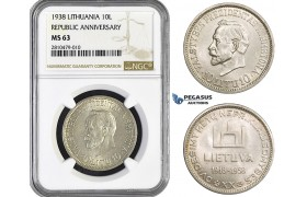 ZM755, Lithuania, Republic Anniversary, 10 Litu 1938, Silver, NGC MS63