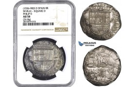 ZM764, Spain, Philip II, Cob 8 Reales ND (1556-98) S D, Seville, Silver (26.8g) NGC AU58