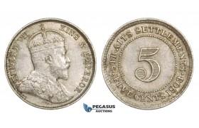 ZM765, Straits Settlements, Edward VII, 5 Cents 1903, Silver, UNC (Minor scratch on Obv.)