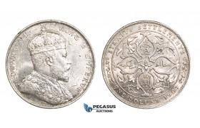 ZM766, Straits Settlements, Edward VII, Dollar 1907, Bombay, Silver, Lustrous AU-UNC