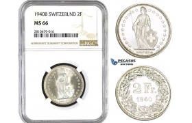 ZM767, Switzerland, 2 Francs 1940-B, Bern, Silver, NGC MS66 (Looks like a SP)