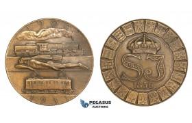 ZM791, Sweden, Art Deco Bronze Medal 1931 (Ø50mm, 46.5g) by Sporrong & Co., Train, Railroad