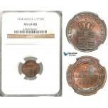 Z44, Greece, Othon, Lepton 1834, Munich, NGC MS64RB, Pop 2/1, Very Rare!