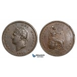 AA032, Great Britain, George IV, Penny 1827, Edge nicks on Rev., F-VF, Rare!