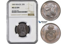 AA037, Brazil, Pedro II, 20 Reis 1869, NGC MS63BN