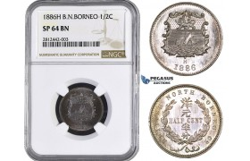 AA038, British North Borneo, 1/2 Cent 1886-H, Heaton, NGC SP64BN