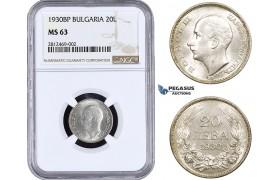 AA040, Bulgaria, Boris III, 20 Leva 1930-BP, Budapest, Silver, NGC MS63