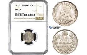 AA042, Canada, George V, 10 Cents 1920, Silver, NGC MS64