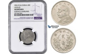 "AA043, China, ""Fat man"" 20 Cents Yr. 3 (1914) Silver, NGC AU Details"