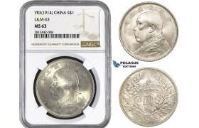 """AA044, China, """"Fat man"""" Dollar Yr. 3 (1914) Silver, NGC MS63"""