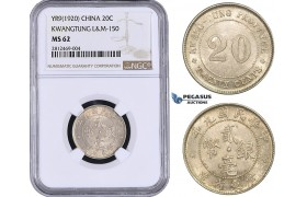 AA047, China, Kwangtung, 20 Cents Yr. 9 (1920) Silver, L&M 150, NGC MS62