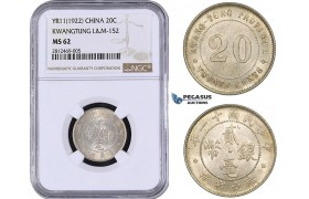 AA048, China, Kwangtung, 20 Cents Yr. 11 (1922) Silver, L&M 152, NGC MS62