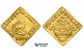 AA049, Denmark, Frederik III, Klippe Ducat 1648, Copenhagen, Gold (3.51g) H. 5b (R) aEF, Very Rare!