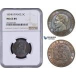 AA051, France, Napoleon III, 5 Centimes 1854-K, Bordeaux, NGC MS62BN